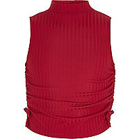 Girls red ruched high neck sleeveless top