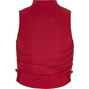 Rode hoogsluitende mouwloze top met rimpelingen voor meisjes