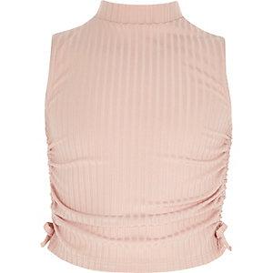 Roze hoogsluitende mouwloze top met rimpelingen voor meisjes