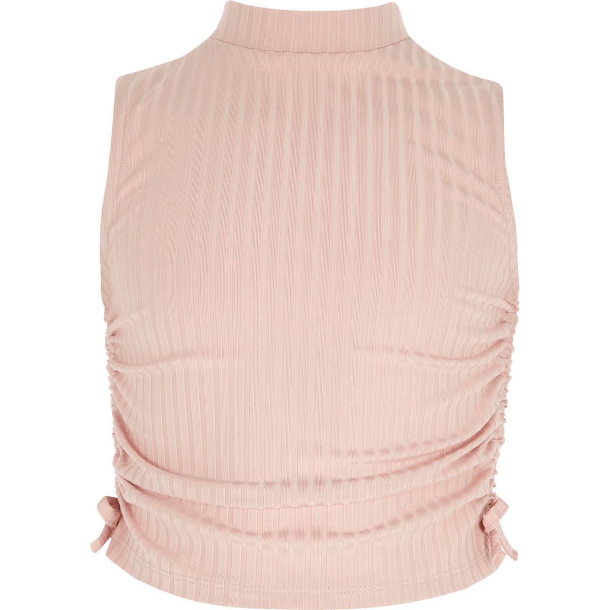Girls pink ruched high neck sleeveless top