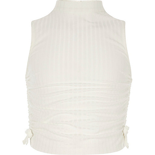 Girls cream ruched high neck sleeveless top