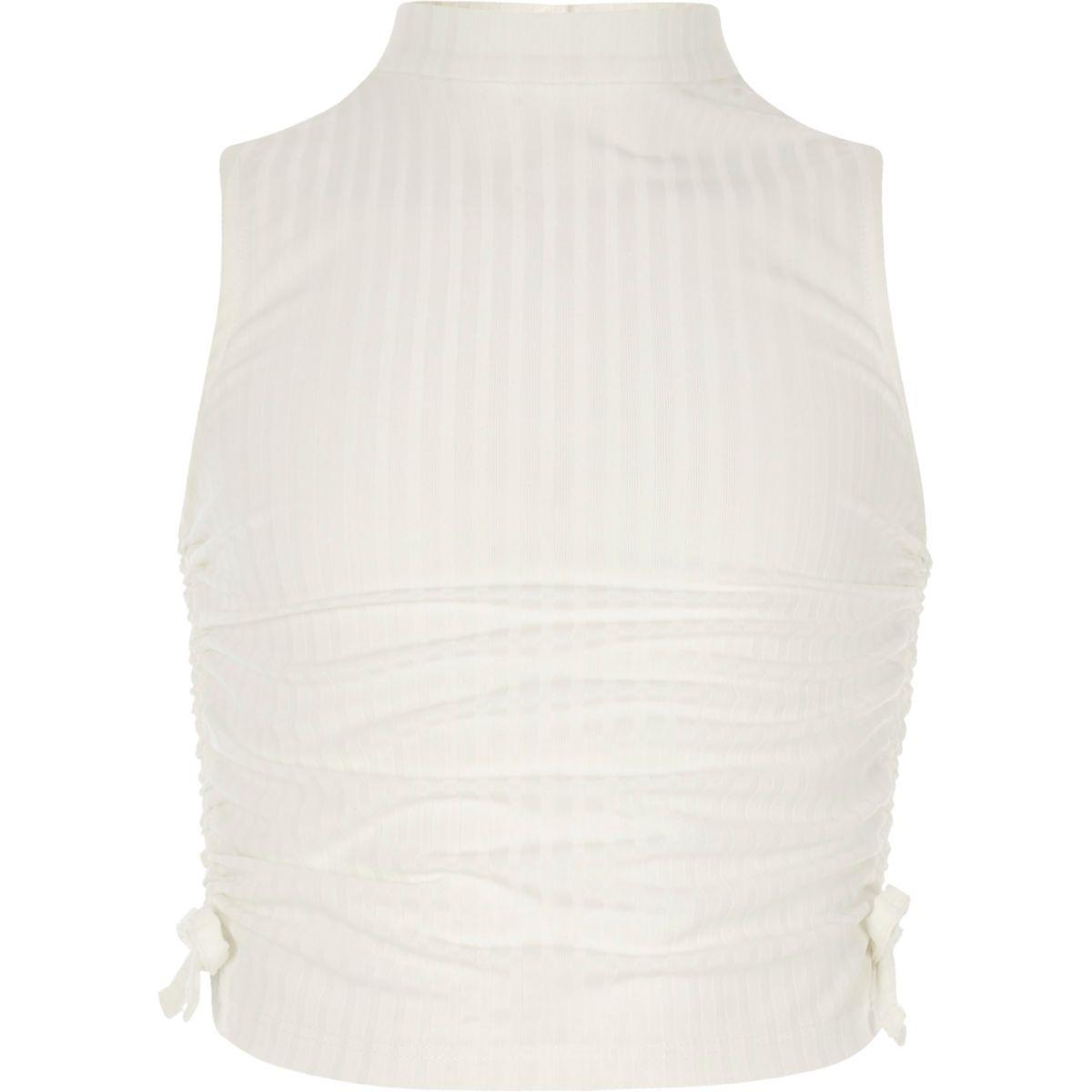 Girls cream ruched high neck sleeveless top