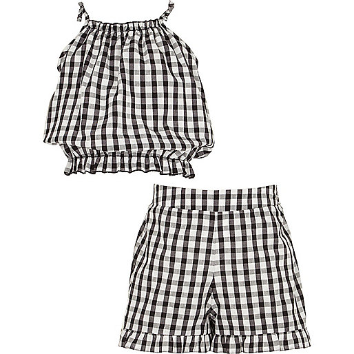 Girls black gingham cami and shorts outfit