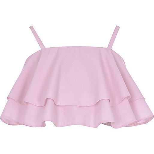 Girls pink frill cami crop top