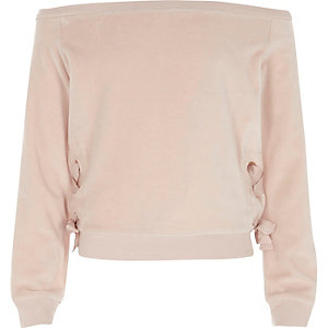 Girls light pink velour bardot sweatshirt