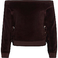 Girls purple velour bardot sweatshirt