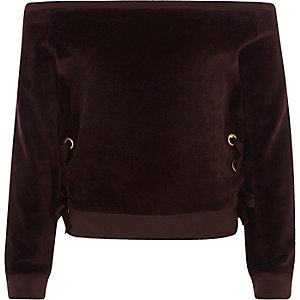 Bardot-Sweatshirt in Lila