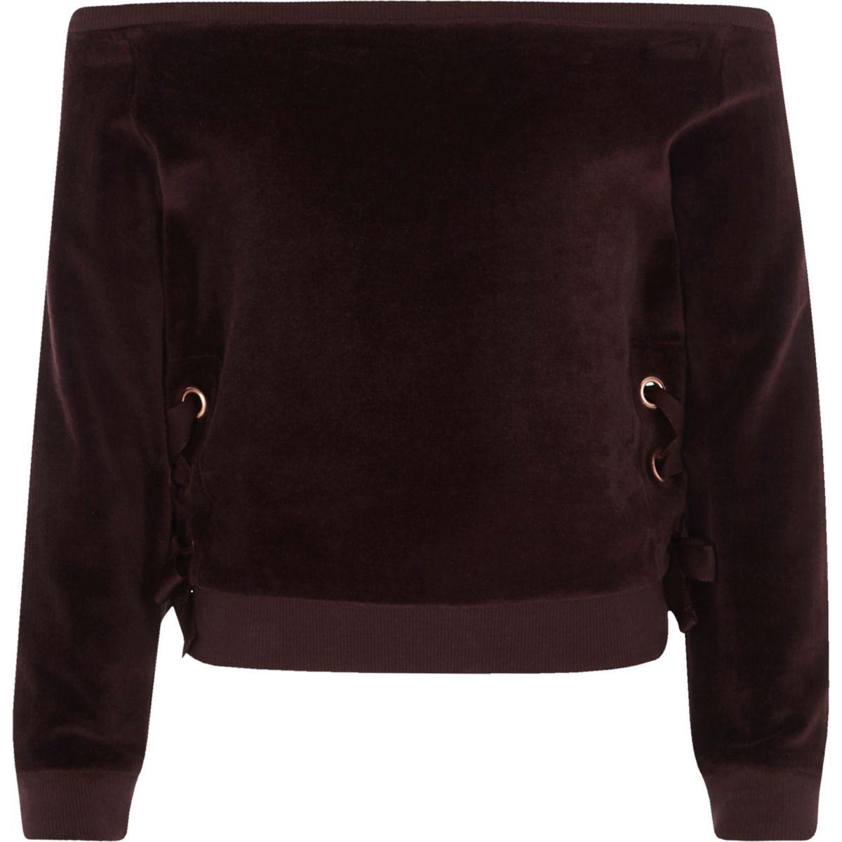 Girls purple velour bardot sweatshirt