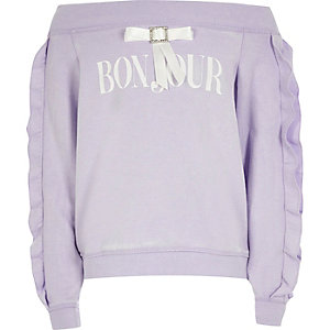 Girls purple bardot 'bonjour' sweatshirt