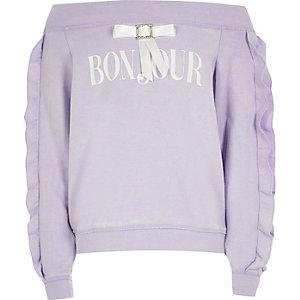 Sweat Bardot «Bonjour» violet pour fille