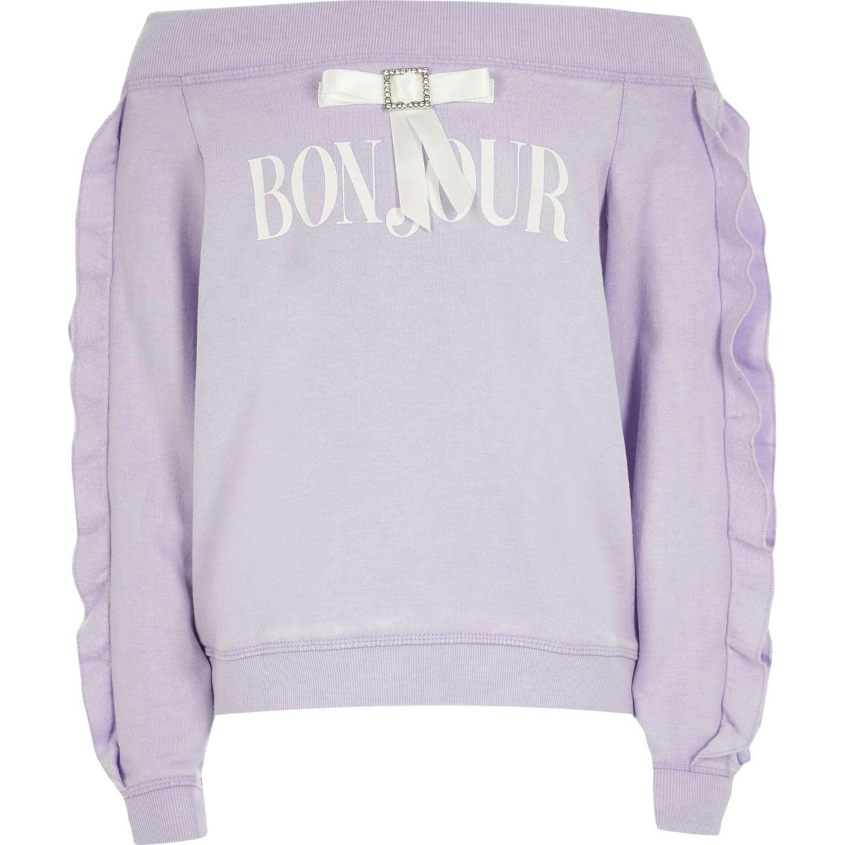 Girls purple bardot 'bonjour' sweatshirt