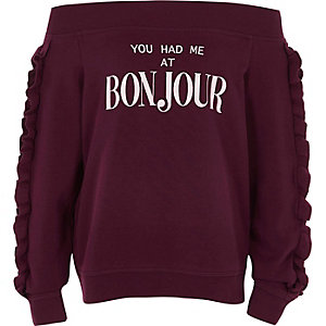 Girls burgundy bardot 'bonjour' sweatshirt