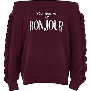 Bordeauxrood 'bonjour' bardotsweatshirt voor meisjes