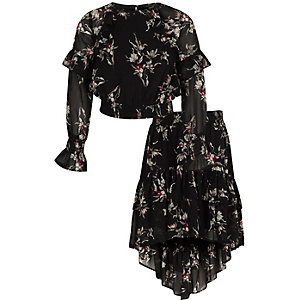 Zwarte top en rok met ruches en bloemenprint voor meisjes