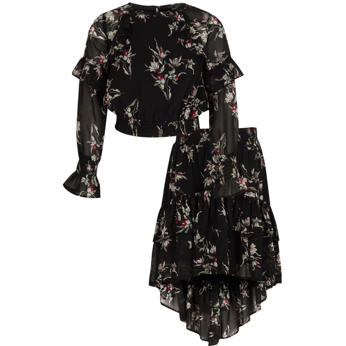Girls black floral frill top and skirt outfit