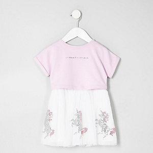 Mini - Paarse jurk met eenhoornprint en lovertjes voor meisjes