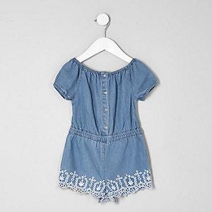 Combi-short Bardot en jean brodé mini fille
