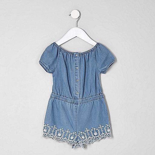 Mini girls denim bardot embroidered playsuit