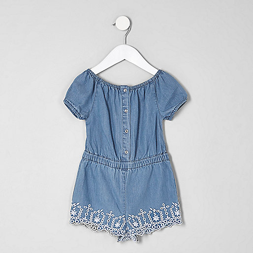 Mini girls denim bardot embroidered romper