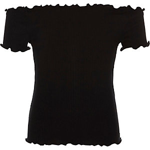 Girls black rib frilly edge bardot top