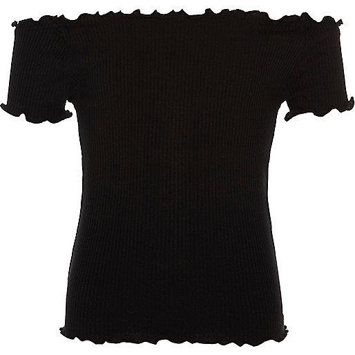 Girls black rib frilly edge bardot top