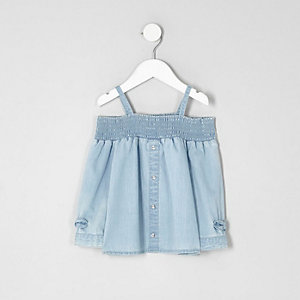 Mini girls light blue bardot bow denim top