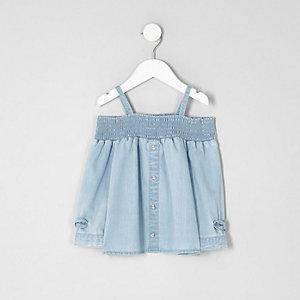 Top en jean Bardot bleu clair avec nœud mini fille
