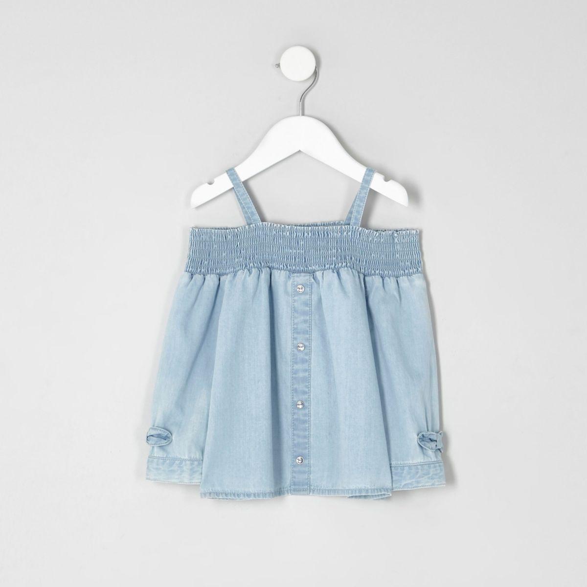 Mini girls light blue bardot bow denim top