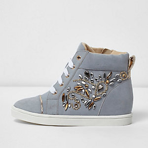 Girls blue embellished hi top wedged sneakers