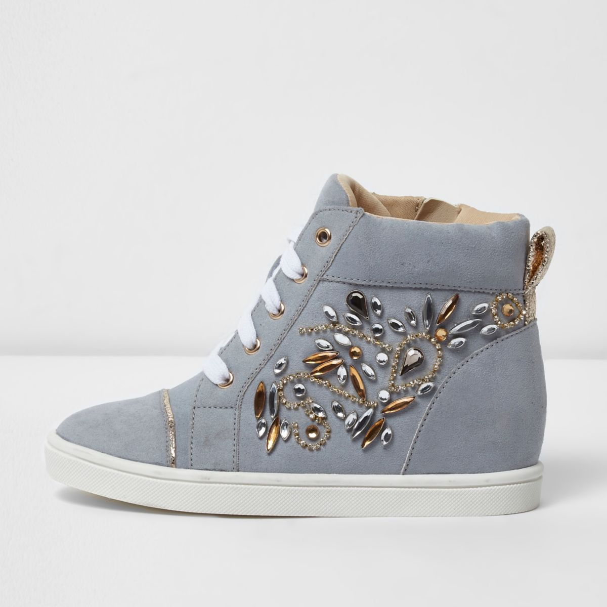 Girls blue embellished hi top wedged trainers