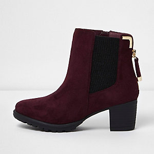 Girls red zipped block heel chelsea boots