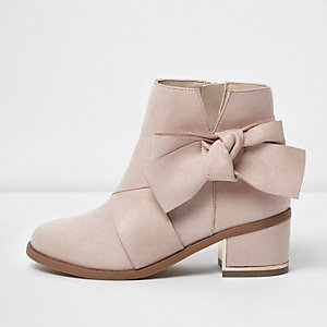 Girls pink bow side block heel boots