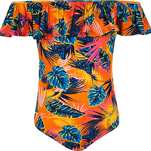 Girls orange tropical ruffle bardot bodysuit