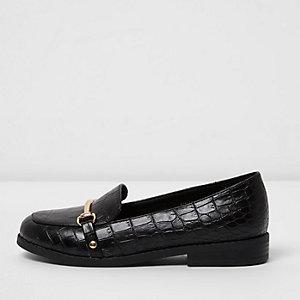 Zwarte loafers met krokodillenreliëf voor meisjes