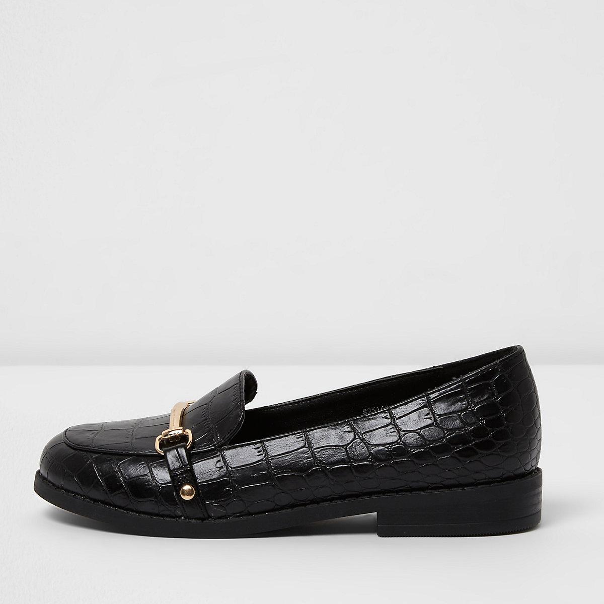 Girls black croc embossed snaffle loafers