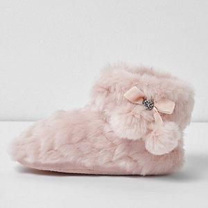 Roze pluizige pantoffellaarzen met pompon voor meisjes