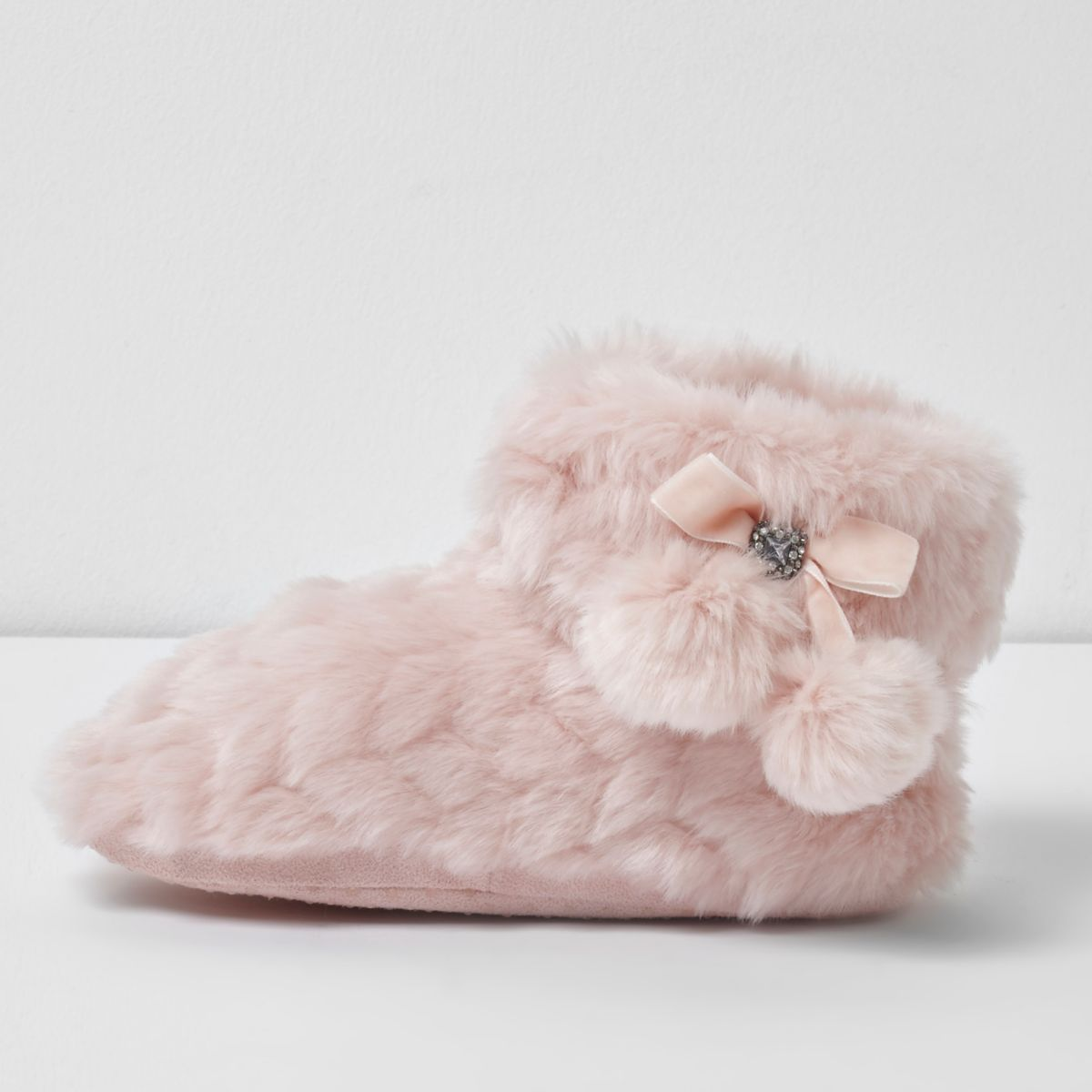 Girls Pink Fluffy Pom Pom Bootie Slippers Shoes