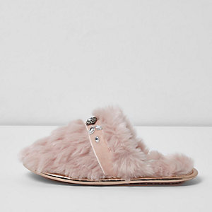 Girls pink fluffy embellished slippers