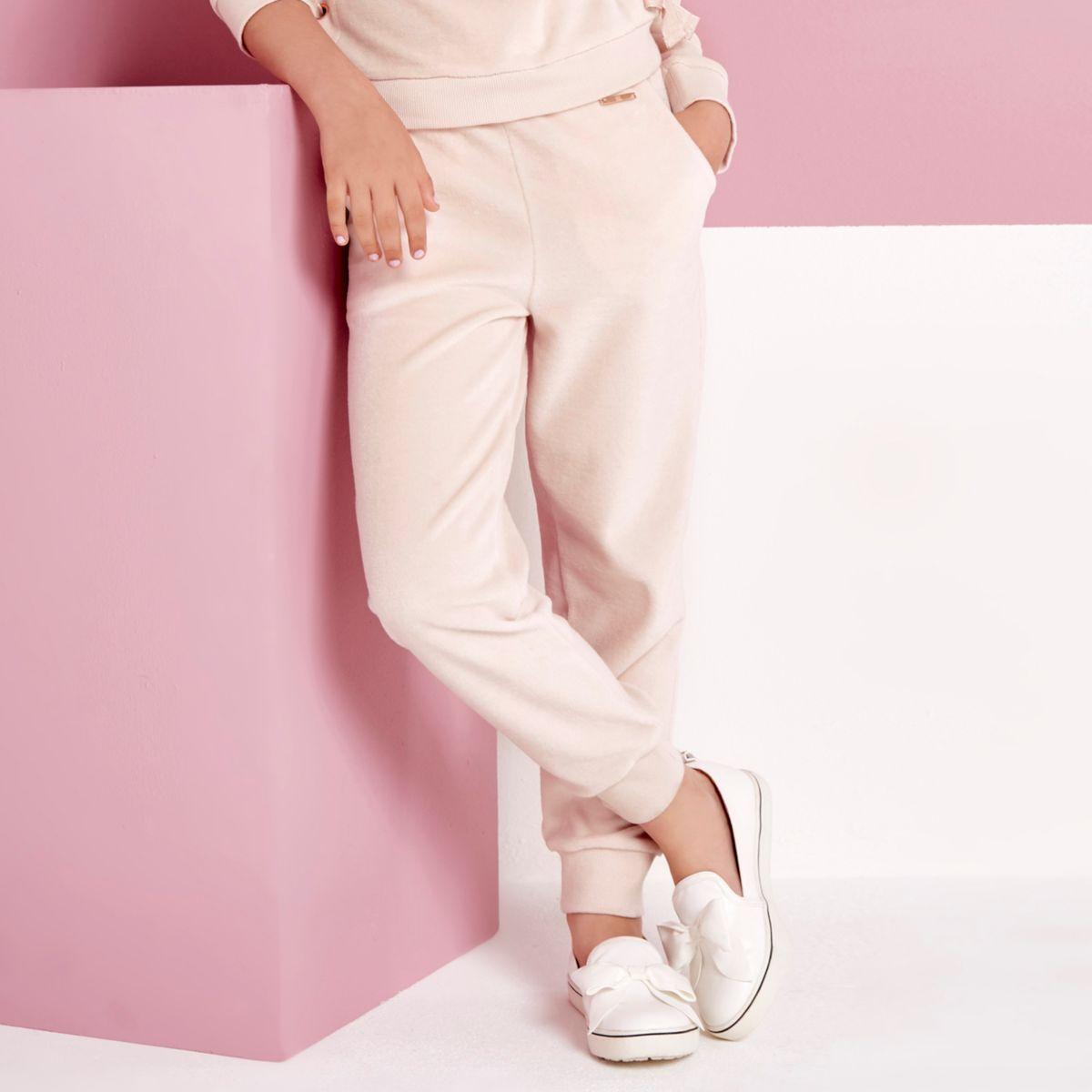 Jogging en velours rose clair pour fille