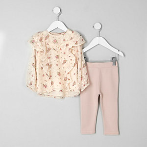 Mini girls pink ditsy top and leggings oufit