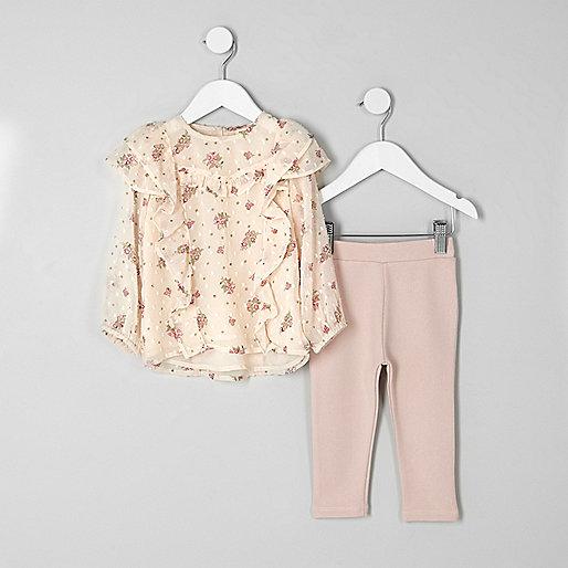 Mini girls pink ditsy top and leggings oufit
