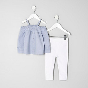 Mini girls blue stripe bardot top outfit