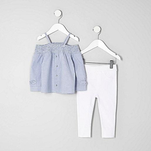 Mini girls blue stripe bardot top outfit