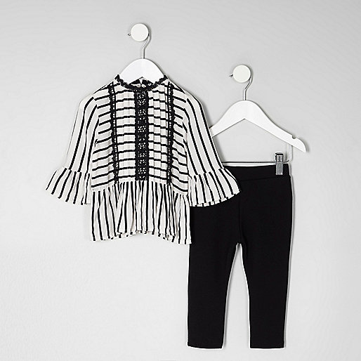 Mini girls black stripe peplum top outfit