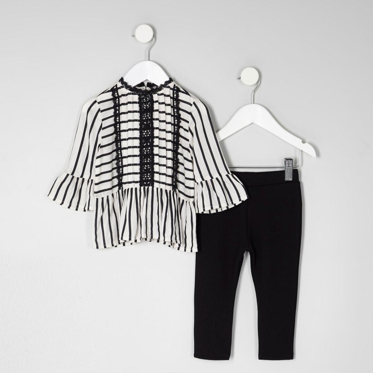 Mini girls black stripe peplum top outfit