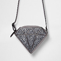 Girls silver glitter diamond crossbody bag