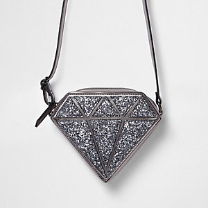 Girls silver glitter diamond cross body bag