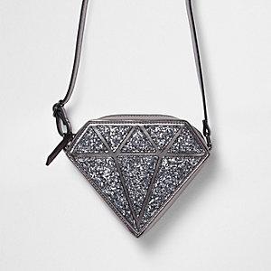 Zilverkleurige crossbodytas met glitters voor meisjes