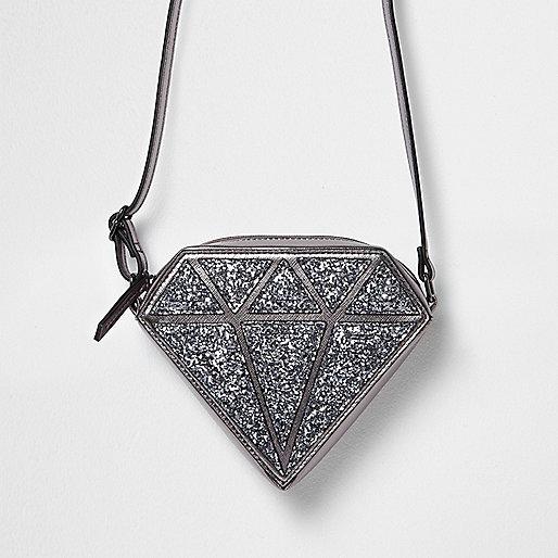 Girls silver glitter diamond crossbody bag