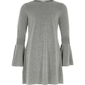 Robe évasée gris chiné à manches évasées pour fille